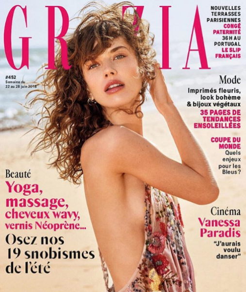 Gigi welcoming summer on the cover of Grazia FR