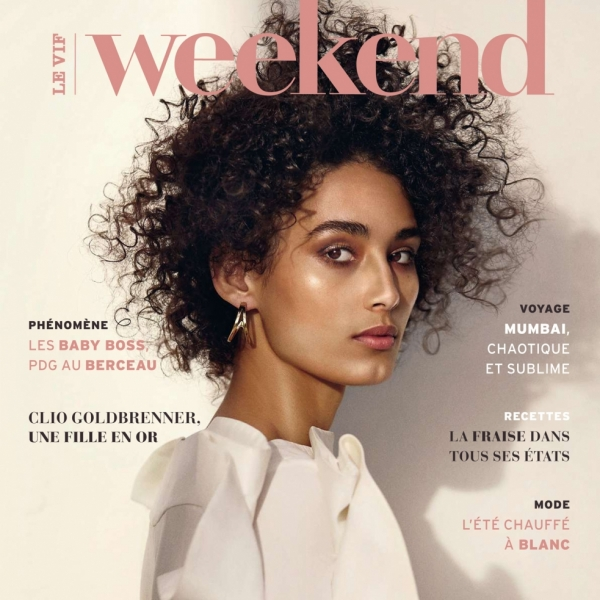 Giulia on the cover of Le Vif Weekend